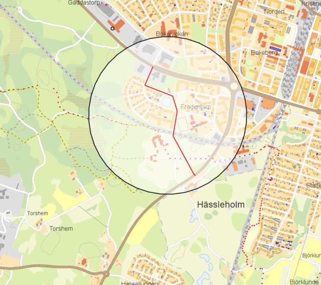 Karta som visar området som gäller anbudsförfrågan gällande VA-utbyggnad.